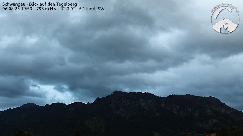 Webcam der Ostallgäuer Gleitschirmflieger, Blick von Schwangau auf den Tegelberg